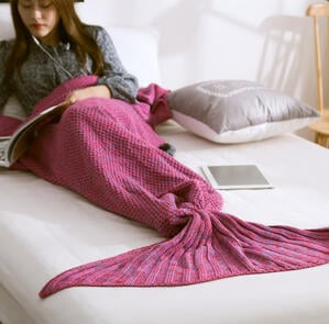成人_兒童 美人魚尾巴針織毛毯 7色 #23201 -2