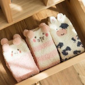 珊瑚絨可愛加厚襪 8款 #28756 -2
