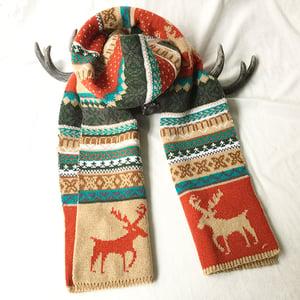 雙面糜鹿圖騰針織圍巾 5色 #28755 -2