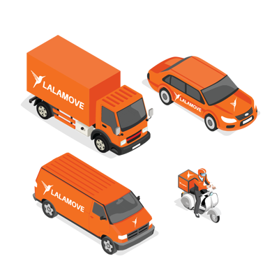 Choose from Lalamove lorries, vans, cars or motorcycles