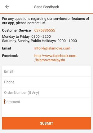 Feedback for Lalamoves Customer Service