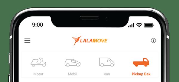 tampilan pick up bak pada aplikasi pengguna lalamove
