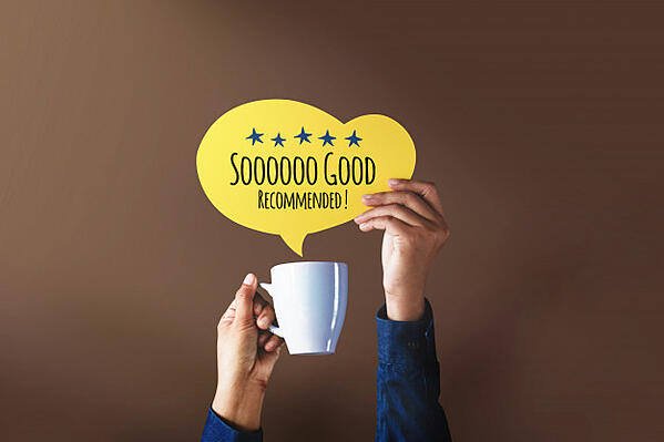 happy-client-giving-five-star-rating-positive-review-speech-bubble-cup-coffee_34048-1042