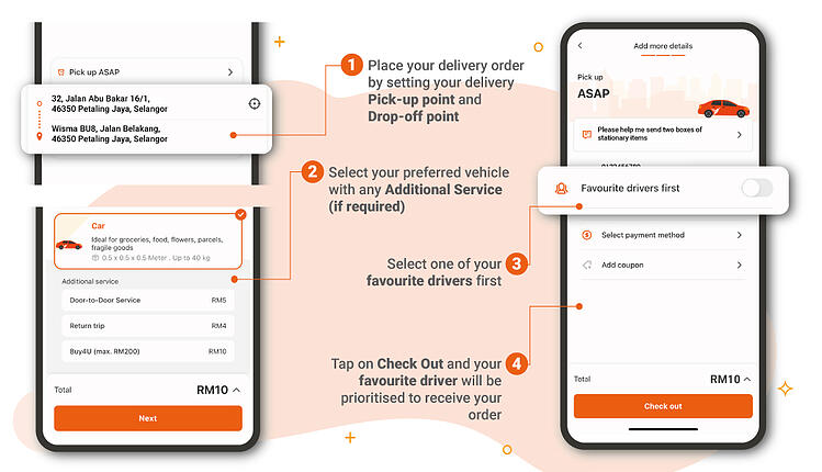Steps to assign a delivery order to a favourite driver