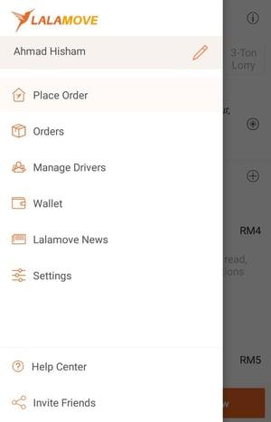 Lalamove app drop down menu