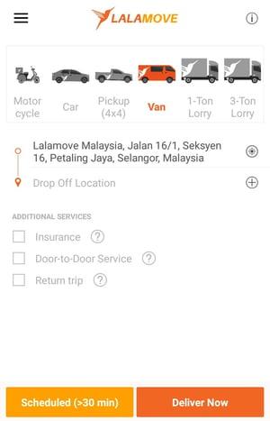 Lalamove app homepage