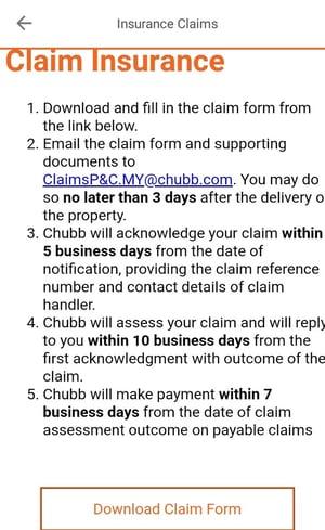 Lalamove app insurance claim