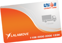 Lalamove-branded Unioil Loyalty Card for 4 Wheelers