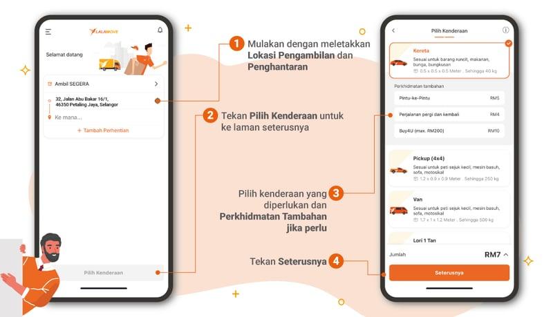 Langkah pertama dan kedua untuk menggunakan aplikasi Lalamove