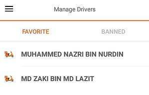 Lalamove Favorite/Banned Drivers