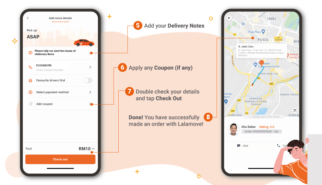 Third and fourth step to place an order on the Lalamove app-1