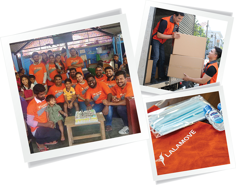 Collage of Lalamove's deliver care corporate social responsibility initiatives