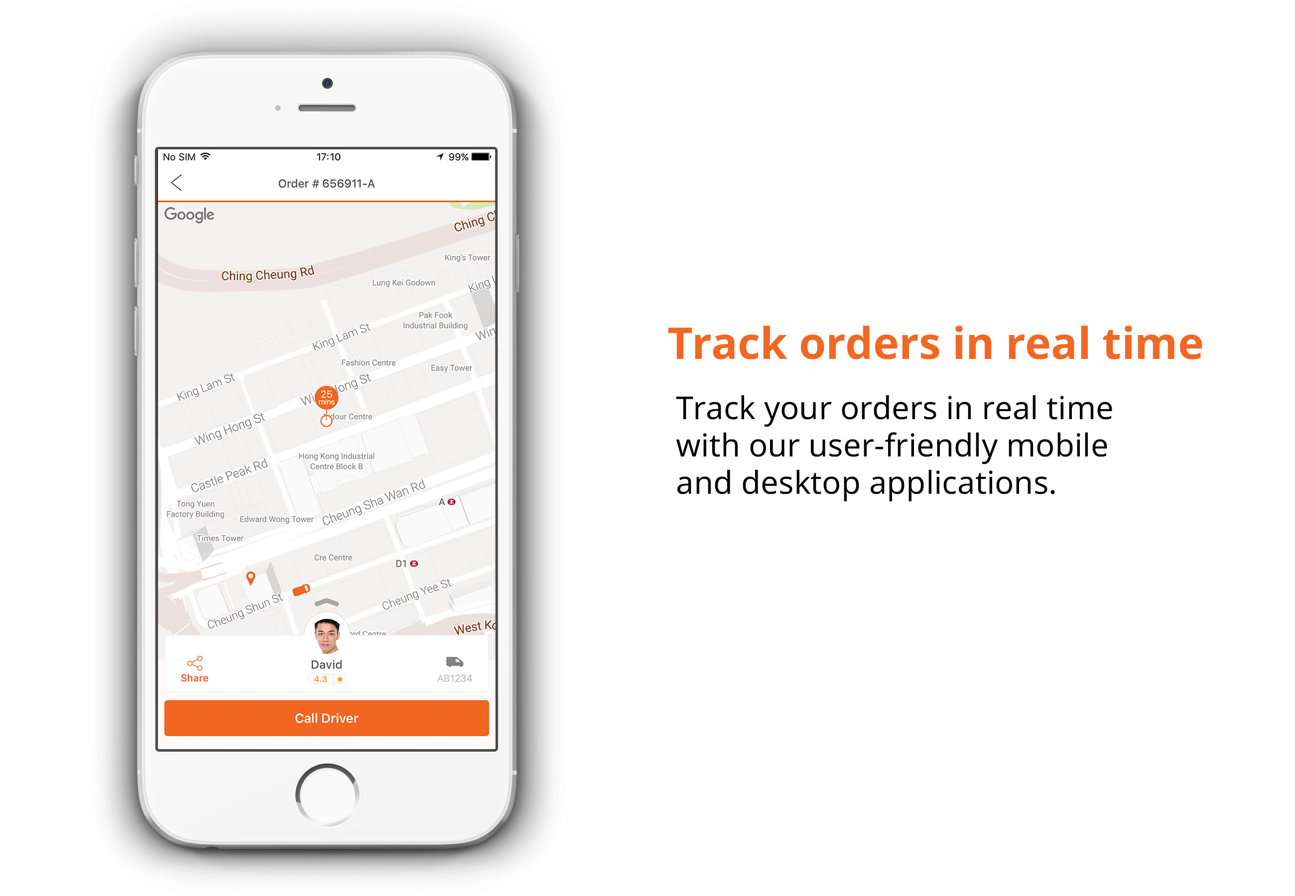 Track orders in real time