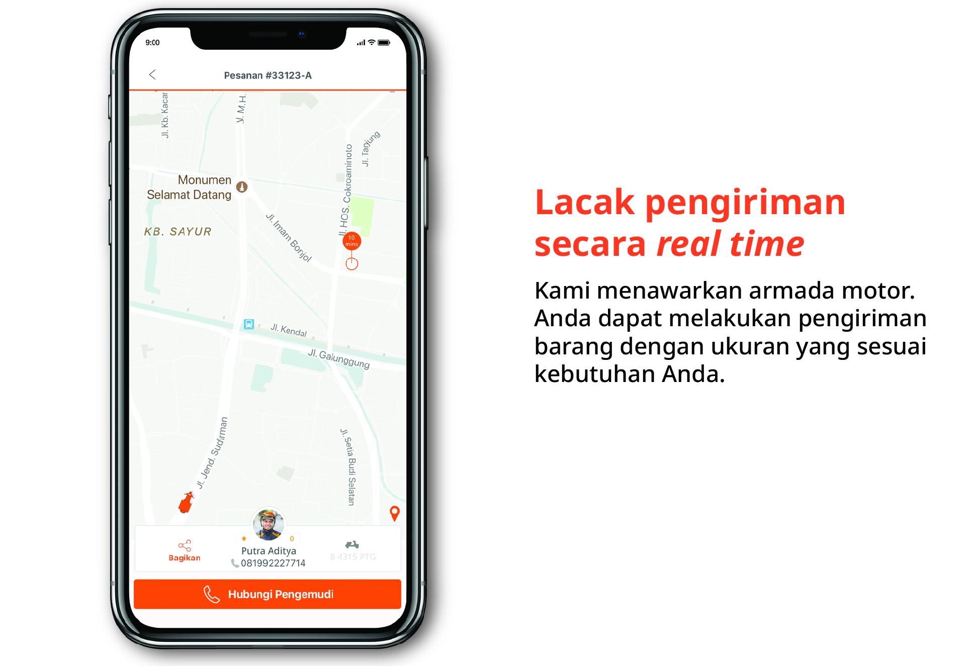 Lacak pengiriman secara real time